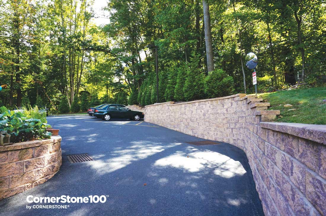 Retaining walls for driveways and parking lots for Sloped driveway options
