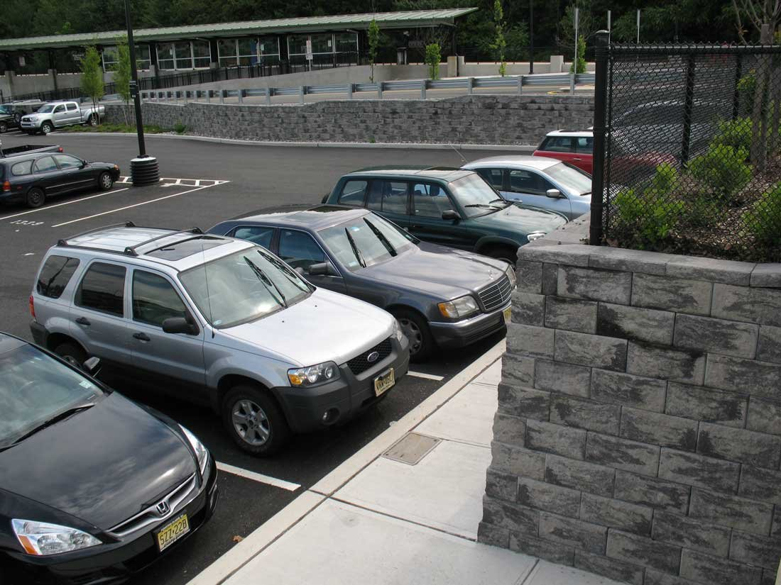 Parking lot retaining walls