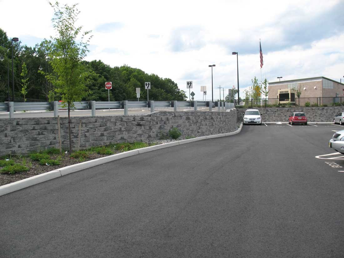 Retaining wall for parking large parking lot