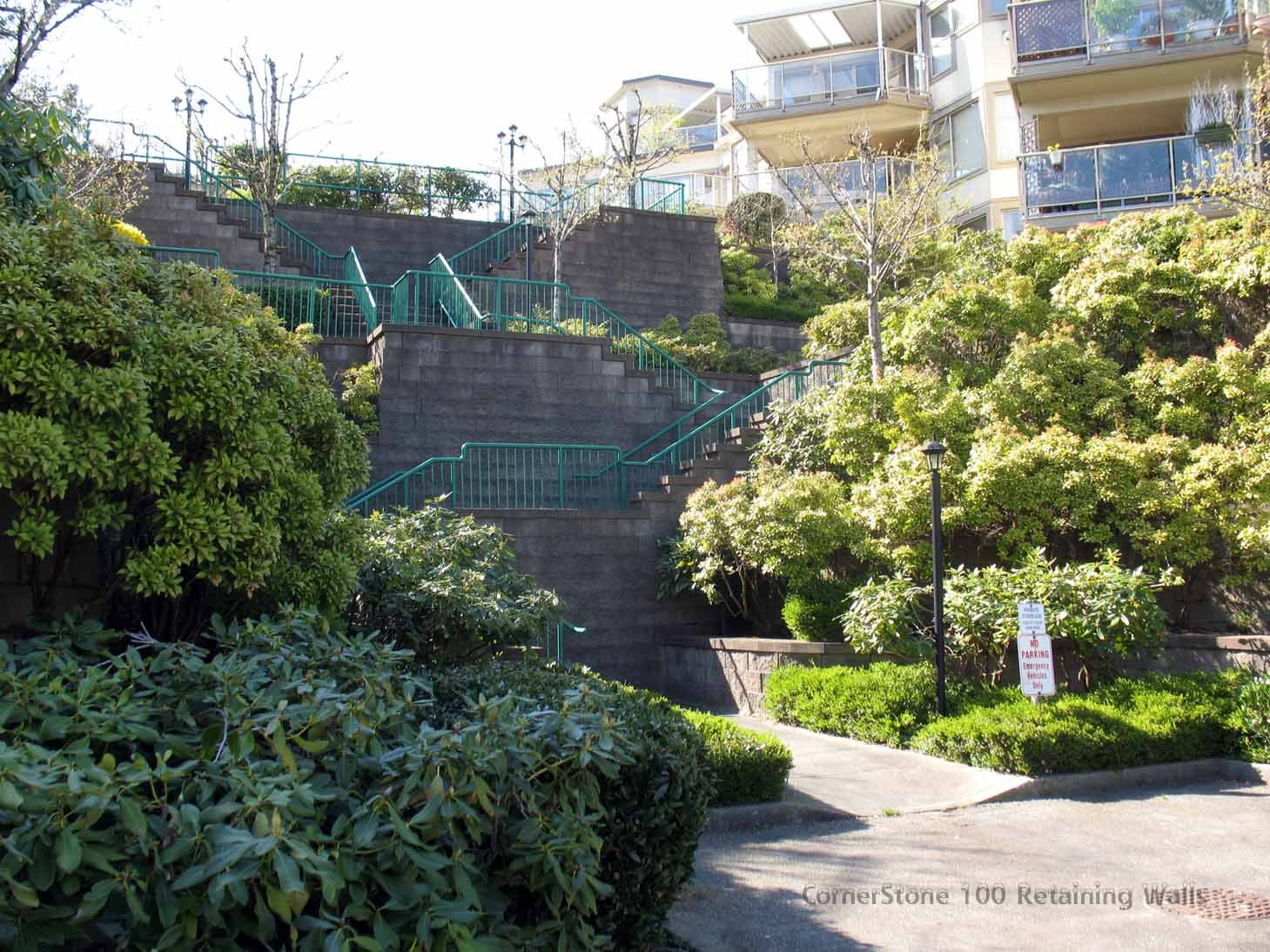 stairs and terraced built with CornerStone retaining walls